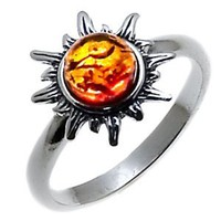 Amazon.com: Certified Genuine Honey Amber and Sterling Silver Flaming Sun Ring, Sizes 5,6,7,8,9,10,11,12: Ian and Valeri Co.: Jewelry