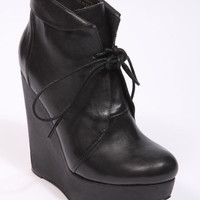 Deena & Ozzy Black Leather Wedge Heels