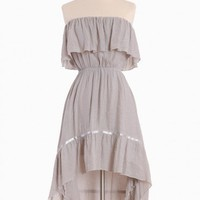 Pinnacle of Dreams Asymmetrical Dress in Light Gray