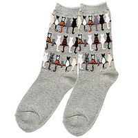 Cat Tails Gray Socks: Feline Lovers Apparel (Women&#x27;s Shoe Sizes 4-10)