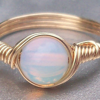 Opaline 14k Gold Filled Custom Sized Wire Wrapped Ring