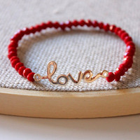 Anthology27, Sweet love bracelet in rich red and gold