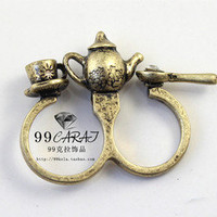Vintage Teapot Teacup Spoon Ring
