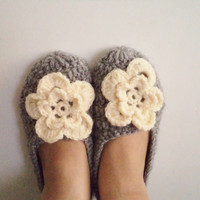 Cyber monday, Wool Grey Crochet Socks Slippers, Whit cream flower. Thick, Simply Socks, Women slippers house shoes.