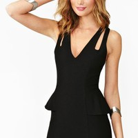 Crossover Peplum Dress - Black