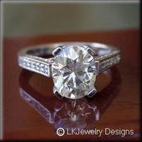 3.95 CT MOISSANITE OVAL MICRO PAVE ENGAGEMENT RING