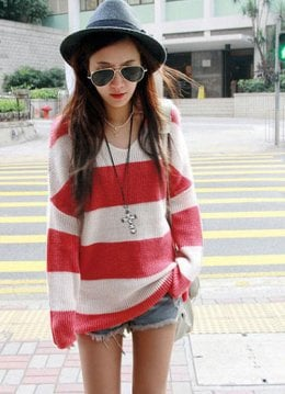 Street Fashion V Neck Red Stripe Junior Sweaters : Wholesaleclothing4u.com
