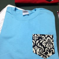 Medium light blue with black paisley frocket