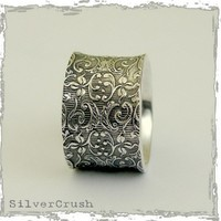 Sterling silver filigree wide UNISEX band Our life by artisanlook
