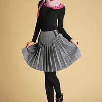 gray wool mini skirt with leather look patchwork waist (439)