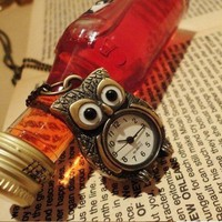 Vintage Owl Pocket Watch Pendant Chain Necklace