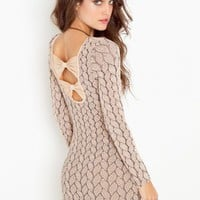 Brady Bow Dress - Nude - NASTY GAL