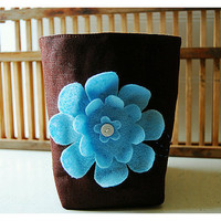 box brown linen Blue flower felt Chocolate Linen Fabric by hoganfe