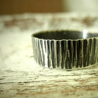 Tree Bark Textured Oxidized Silver Band- Unisex, Bold & Modern by Pale Fish NY