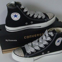 Black Converse Shoes Featuring Clear Swarovski Crystals COO20