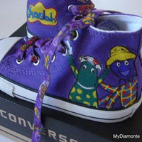 Hand Painted The Wiggles On Purple Converse Shoes COP14