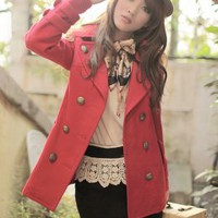 Academy Style Red Double Breasted Short Coats : Wholesaleclothing4u.com
