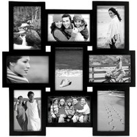 Collage 9 opening Wooden Picture Frame, 17.83HX1.3W, BLACK