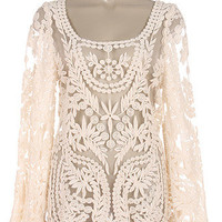 Victorian Vintage Embroidered Mesh Lace Blouse Semi Sheer Top Shirt Ivory NEW L