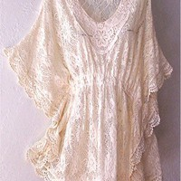 NEW~Ivory Vintage Crochet Lace Beige Peasant Blouse Kimono Boho Top~16/14/XL