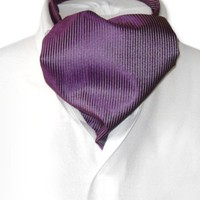 Antonio Ricci ASCOT Solid PURPLE Color Cravat Men's Neck Tie