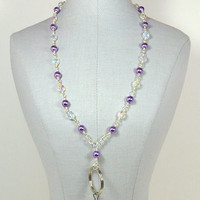 Id lanyard with wire wrapped lilac pearls and a magnetic clasp 315