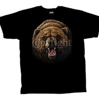 Grizzly Bear T-Shirt Great Head Shot-Black-Medium