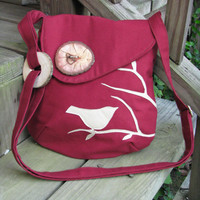 Cranberry Appliqued Bird Purse, handmade wood buttons /tote /handbag /messenger /school bag /applique