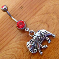 Belly button ring - Silver Elephant and Red Gem Belly Button Ring