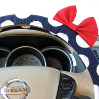 Navy Blue Polka Dot Steering Wheel Cover with Matching Red Bow