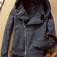 Deep Gray Hooded Zip Long-sleeved Panda Sweatshirt  S00264