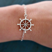 Silver Ship Wheel Bracelet Sterling Silver chain Bridesmaid Gifts Girl Friend Gift nautical jewelry