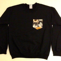 Unisex Custom Patch Pocket Crew Neck Sweatshirt- Cat Print from EEHCUOY