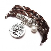 Braided Satin and Chain Wrap Charm Bracelet with Tree of Life | charmed design