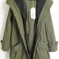 Double Pocket Hooded Long Sleeve Coat Green  S006198