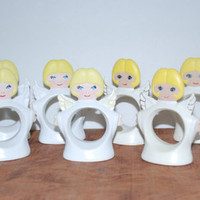 Vintage 1977 and 1984 Angels Ceramic Napkin Holders