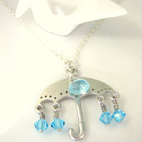 Silver umbrella raindrop Swiss blue topaz necklace
