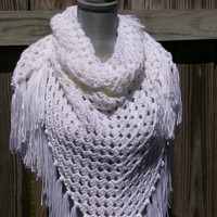 Shawl Triangle Scarf in White Hand Crocheted