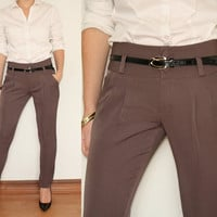 Skinny High Waisted Pants Trousers in Taupe Office Fashion