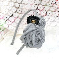 Handmade fascinator Cotton Rose Gray Headband Shabby Chic Black sequins beaded Flower