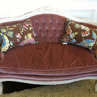 Tufted French Settee Love Seat Sofa Couch Dusty Pink by HeartPrim
