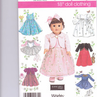 New Simplicity Pattern Doll Clothes 18 inch doll American Girl doll dress fancy dress top skirt