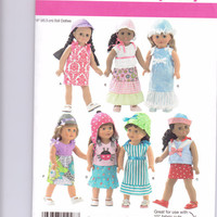 New Simplicity Pattern Doll Clothes 18 inch doll American Girl doll  shirt  skirt dress hat bonnet