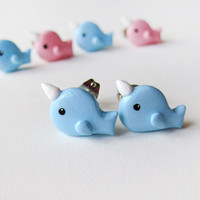 Blue Narwhal Earrings