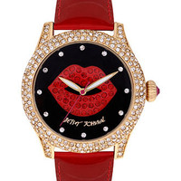 Betsey Johnson Watch, Women&#x27;s Red Patent Leather Strap 41mm BJ00019-31 - Betsey Johnson - Jewelry &amp; Watches - Macy&#x27;s