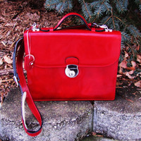 vintage HAND MADE red genuine leather crossbody organizer bag. made in ITALY. with key
