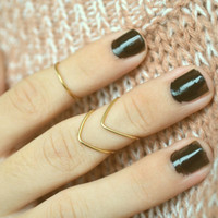 Knuckle Ring Chevron Arrow Single Joint Ring Gold Brass Wire Wrap Stackable Bohemian Hippie Eclectic Statement Jewelry Adjustable