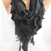 ON SALE New Gift  Triangle Curly Black Shawl Scarf