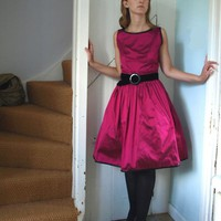 The Magenta Silk Party Dress Made to Order by makemeadress