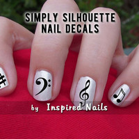 Music Nail Decals Black and Clear Simply Silhouette by Inspired Nails